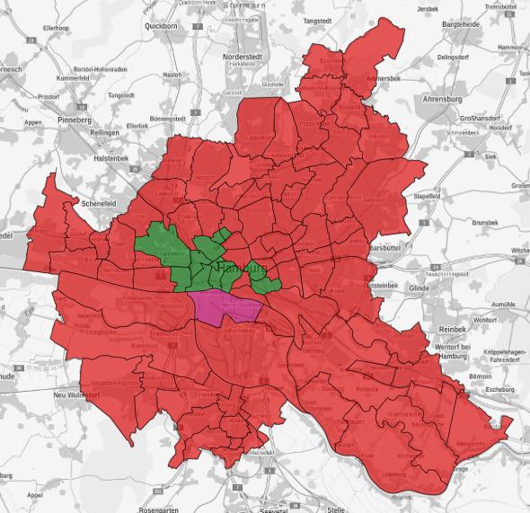 Karte der Stadtteilgewinner. Überwiegend Rot, ein wenig Grün und ein Stadtteil in den Farben der Linken