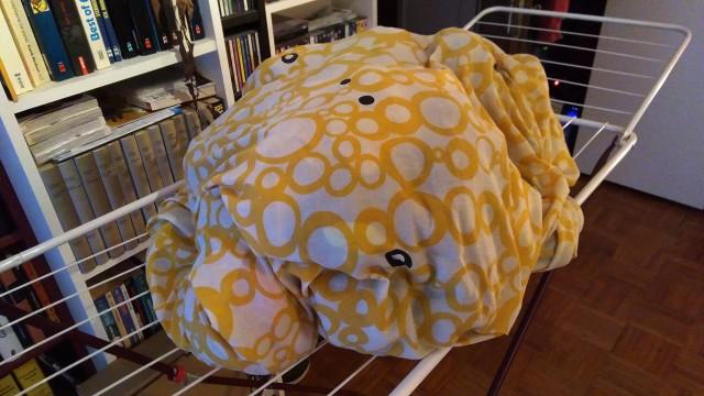 Bettdecke, gefüllt mit Wäsche