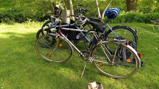 80er Jahre Rennrad, Lastenrad und Trekkingrad auf der Wiese