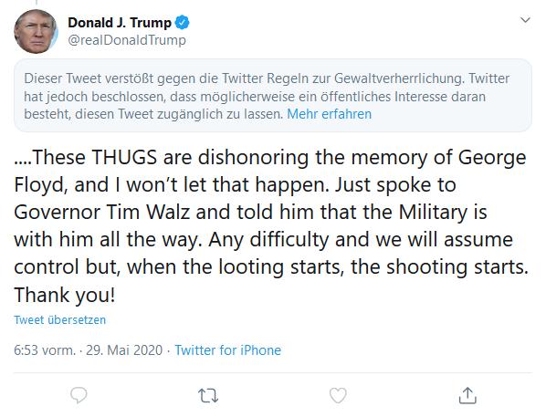 Inhaltswarnung über dem aufgeklappten Tweet
