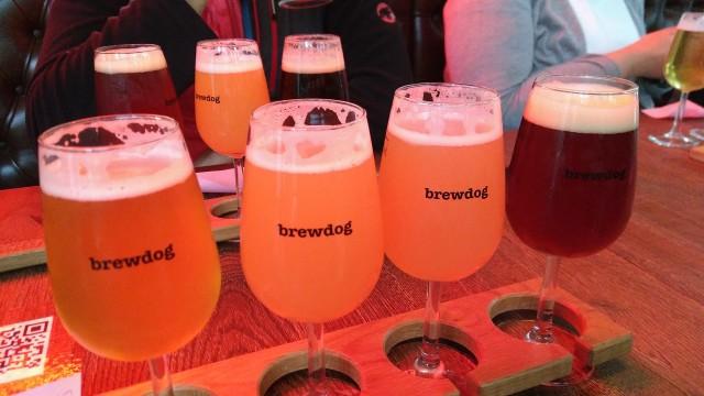 vier Biere im Tray