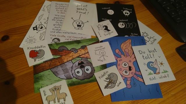 Aufkleber, Postkarten und Zeichnungen von islieb