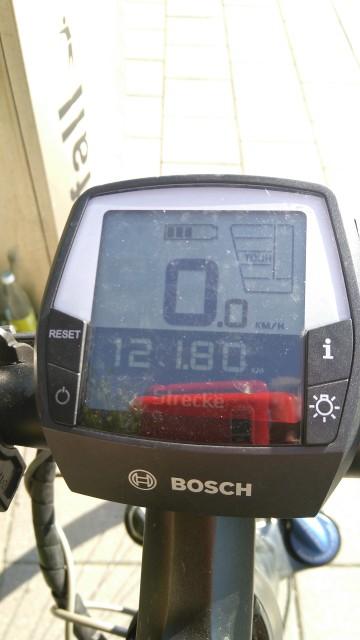 Fahrradtachometer mit über 120 Kilometern.
