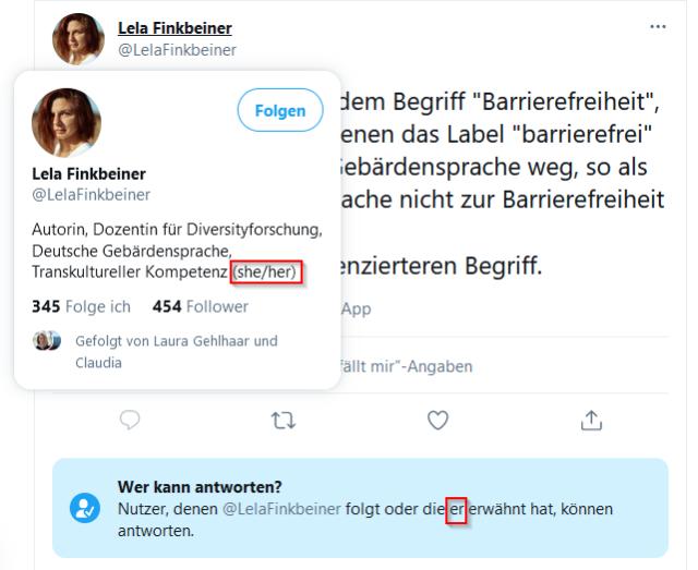 """Screenshot eines Tweets einer Person, die sich im dargestellten Profil als weiblich bezeichnet. Unter dem Tweet der Hinweis von Twitter: """"wer kann antworten? Nutzer, die LelaFinkbeiner folgen oder die er erwähnt hat, können antworten"""""""