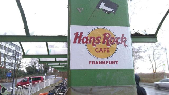 """""""Hans Rock Cafe""""-Aufkleber in Stil des """" Hard Rock Cafe"""""""