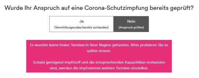 """Webseite des Impfservices für Hamburg mit dem Hinweistext """"Es wurden keine freien Termine in Ihrer Region gefunden. Bitte probieren Sie es später erneut. Sobald genügend Impfstoff und die entsprechenden Kapazitäten vorhanden sind, werden die Impfzentren weitere Termine einstellen."""""""