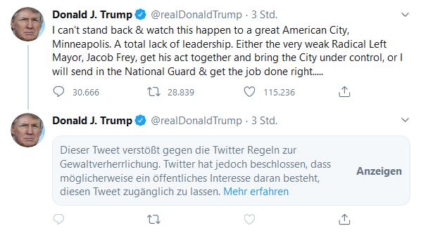 Tweet von Trump mit der Warnung von Twitter, dass dieser Tweet wegen Gewaltverherrlichung ausgeblendet wurde