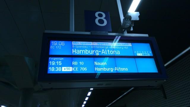 mein Zug hat 25 Minuten Verspätung, der davor 90 Minuten