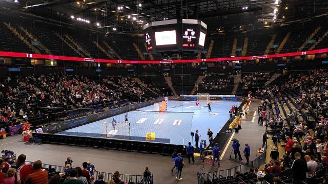 Blick auf das Handballfeld