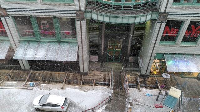 Blick aus dem Fenster mit Schneegestöber